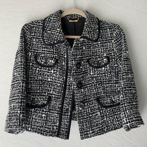 Black & White Tweed Jacket 3/4 Sleeve